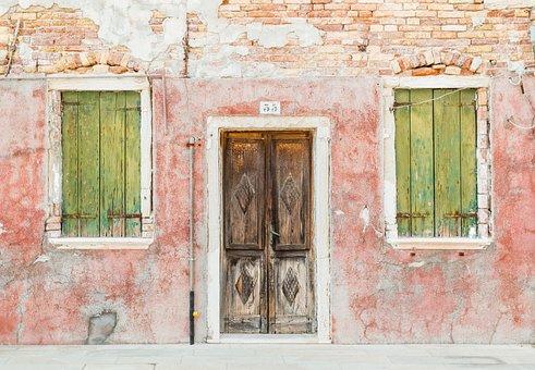 Brick, Brown, Burano, Italy, Entrance, Window