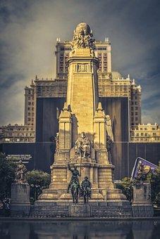 Madrid, Don Quixote, Cervantes, Spain, Figure, Monument