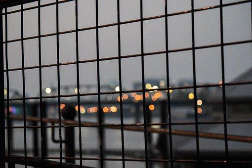 City, Gate, Fence, Lights, Night, City Lights