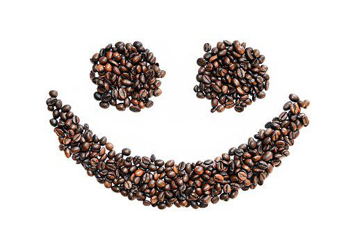 Coffee Beans, Smiley, Background, White, Coffee