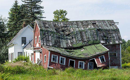 Collapsed House, Uninhabitable House, Crooked Roof