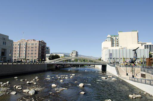 Reno, Nevada, Truckee, River, Downtown, Bridge