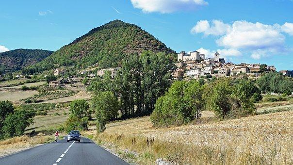 Landscape, Mount, Village, Field, Road, Lozère, France
