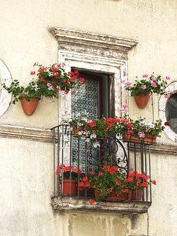 Balcony, Flowers, Gerani, Ornament, Architecture