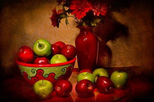 Still Life, Apples, Fruit, Fine Art, Flowers, Painting