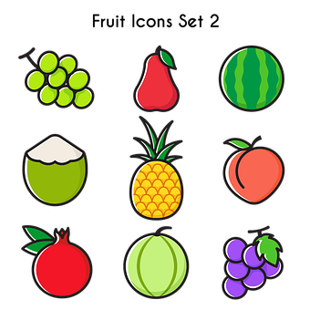 Fruits Icons, Fruits, Grape, Rose Apple, Watermelon