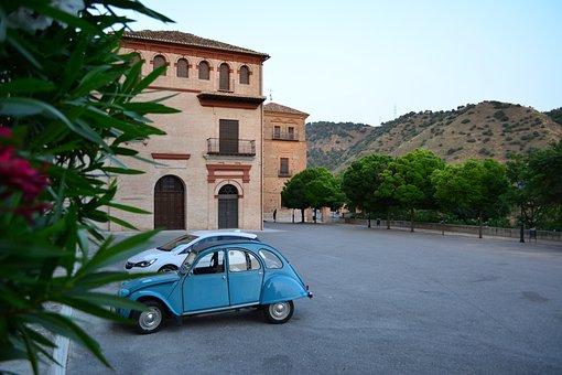 Spain, Granada, Monastery, Old Car, Blue Car, Mountain