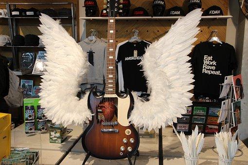 Guitar, Angel, Wing, Loud, Fun, Instrument, Lifestyle