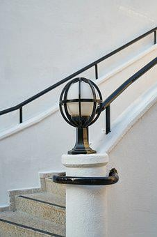 Stairs, Garden, Building, Marble, Lamp, Lighting