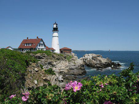 Portland Head Light, Cape Elizabeth, Maine, Roses