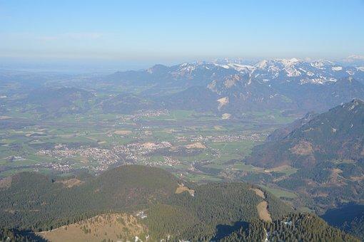 Inntal Valley, Mountains, Bavaria, Aerial View, Alpine