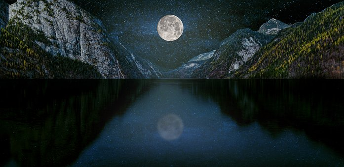 Blue Sky, Moon, Mountains, Night, Nature