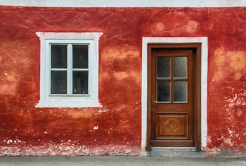 Window, Door, Red Wall, Architecture, House, Old