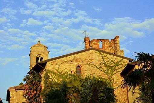 Church, Sky, Clouds, Campanile, Ancient, Sirmione