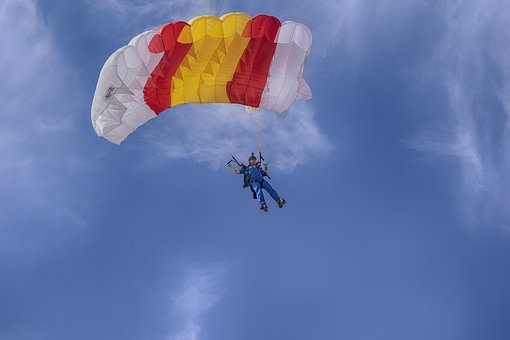 Paratrooper, Soldier, Sky, Military, Parachute