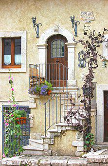 House, Architecture, Facade, Staircase, Steps
