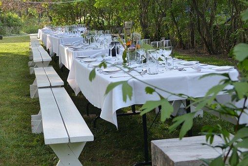 Garden, Table, Wedding, Decoration, Celebration, Dinner