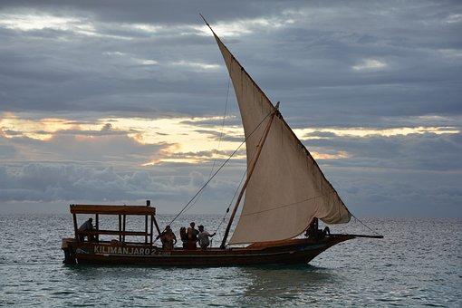 Zanzibar, Ship, Ocean, Sunset, Sea, Boat, Paradise