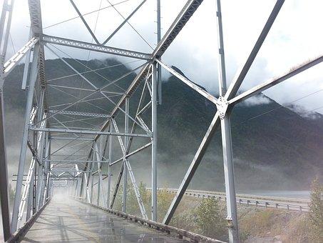 Knik River, Bridge, Mist, Architecture, Foggy