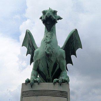 Dragon, Bridge, Bronze, Monument, Travel, Architecture
