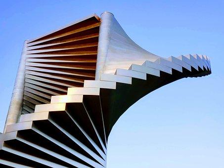 Stairway To Heaven, Stairs, Sky, Design, Sculpture