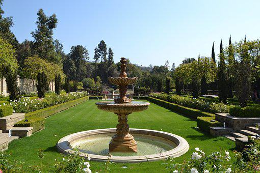 Garden, Nature, Fountain, In The Summer Of