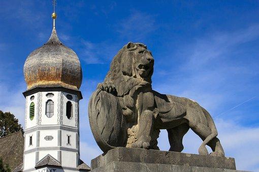 Lion, Bavaria, Church, Onion Dome, Architecture