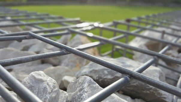 Cliff, Stone, Metal, Grid, Grass