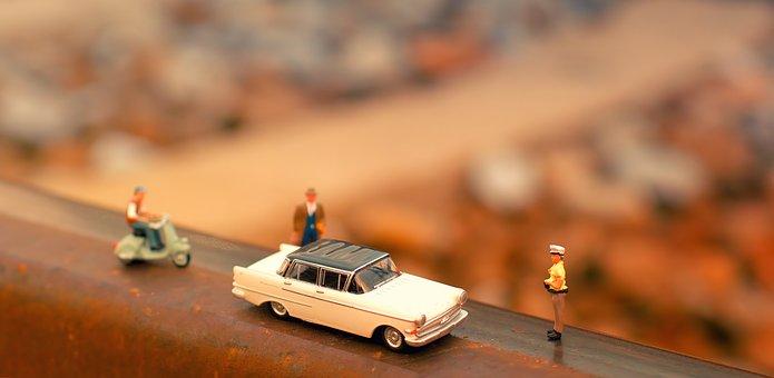 H0, Figures, Model Car, Pkw, Cop, Roller, Moped