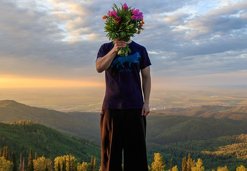 Bouquet, Flowers, Nature, Mountains, Forest, Guy, Man