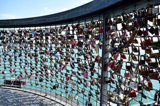 Railing, Castles, Padlock, Padlocks, Love, Grid