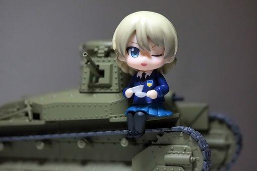 Girls, And, Panzer, Type, 89, Tank, Old, Vintage, Toy