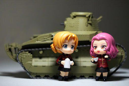 Girls, And, Panzer, Toy, Figurine, Small, Cute
