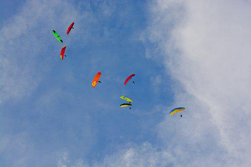 Panoramic View, Sky, Cloudy Blue Sky, Paragliders