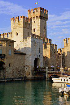 Torre, Castle, Water, Boats, Sky, Flag, Italiana