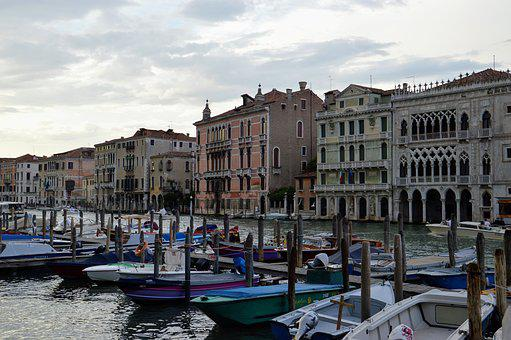 Venice, Channel, Gondolier, Sky, Water, Tourism, Boats