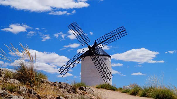 Consuegra, Spain, Mill, White, Wind, Sky, Clouds