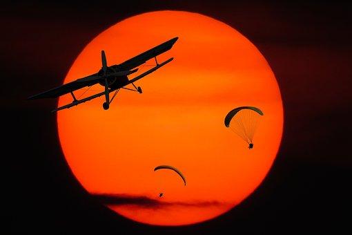 Sport, Emotions, Flying, Aircraft, Double Decker, Sun