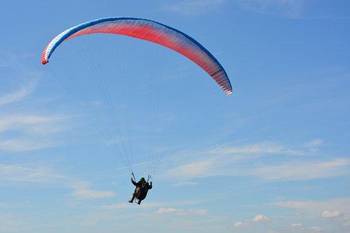 Paragliding, Free Flight, Sailing Blue Red, Sport