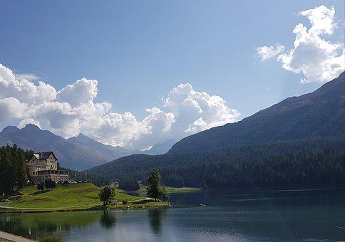 Stmoritzersee, Forest House, Sky, Bergsee, Stmoritz