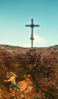 H0, Figures, Cross, Summit, Wanderer, Mountaineer, Rock