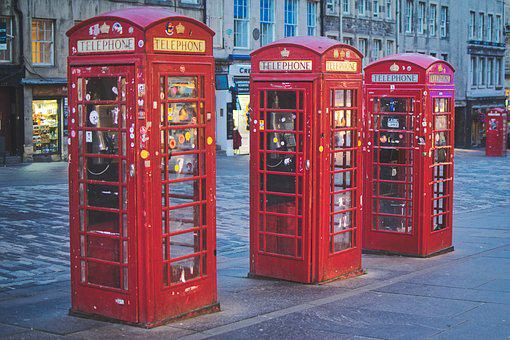 Telephone Booths, Red, Edinburgh, Phone, Urban
