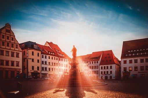 Freiberg, Fountain, Saxony, Otto, Architecture, City