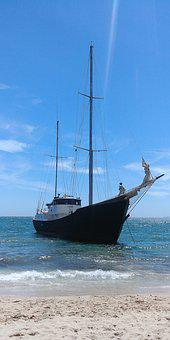 Boat, Ship, Beach, Sea, Ocean, Sailing Boat, Sail, Blue