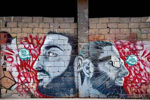 Graffiti, Tag, Paint, Men, Man, Wall, Building Block