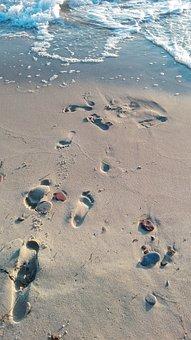 Beach, Traces, Sea, Footprints, Sand Beach, Footprint