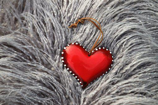 Red Heart, Fur, Pillow, Silver, For You, Romance