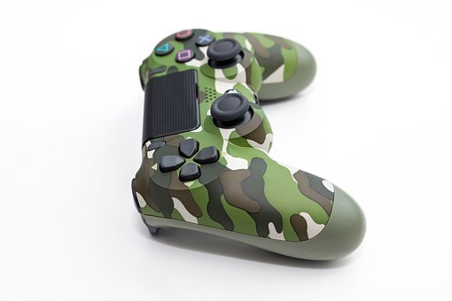 Controller, Playstation, Camo, Camouflage, Green