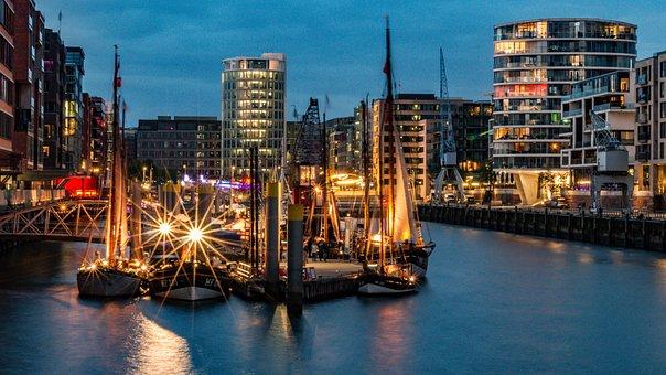 Hamburg, Speicherstadt, Water, Architecture, Building