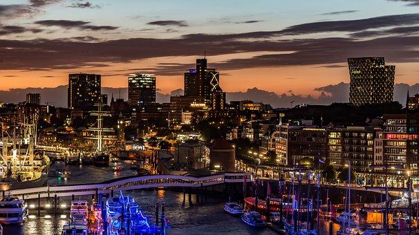 Hamburg, Skyline, Water, Port, Landmark, Hanseatic City
